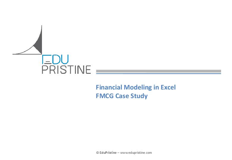 PDF) Financial Modeling in Excel FMCG Case Study Agenda