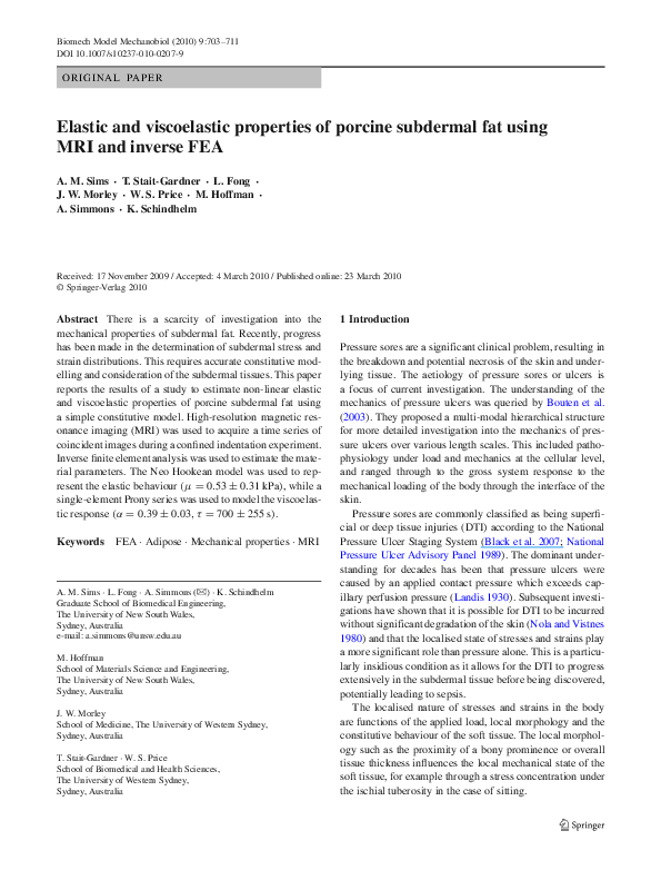 PDF) Elastic and viscoelastic properties of porcine
