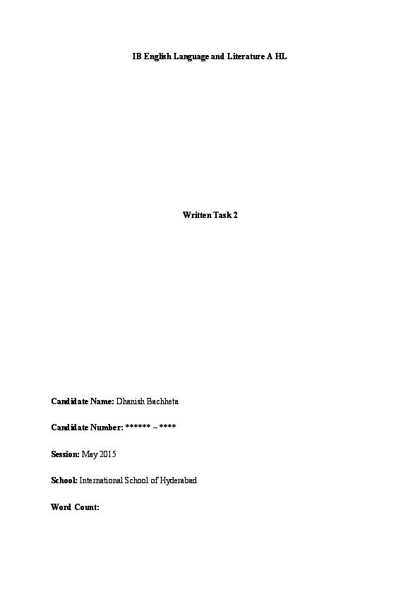 PDF) IB English Language and Literature A HL: Written Task 2
