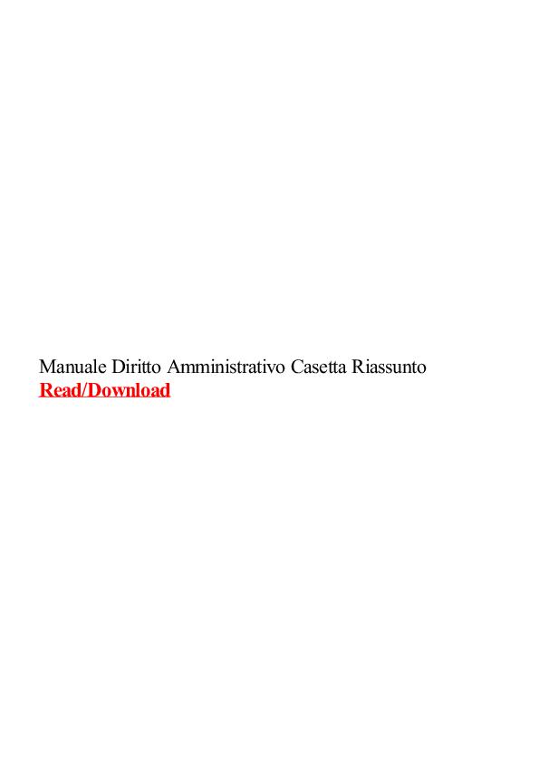 Manuale Diritto Amministrativo Pdf