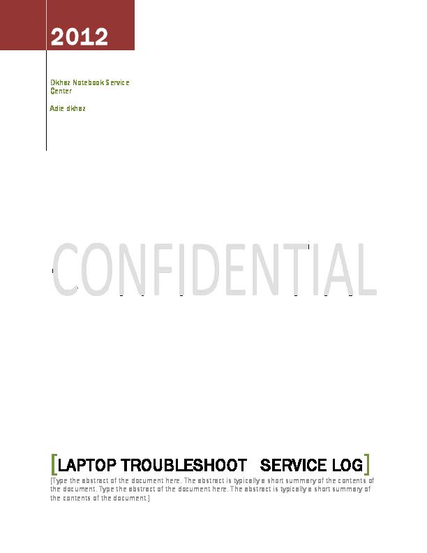 PDF) Laptop Troubleshoot Service Log | Adie Dkhaz - Academia edu