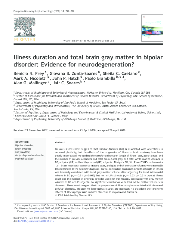 PDF) Illness duration and total brain gray matter in bipolar