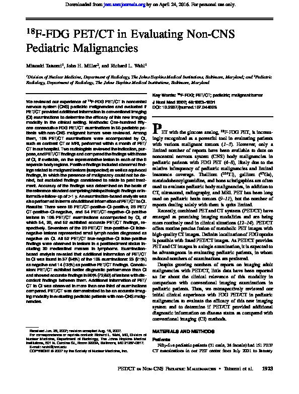PDF) 18F-FDG PET/CT in Evaluating Non-CNS Pediatric