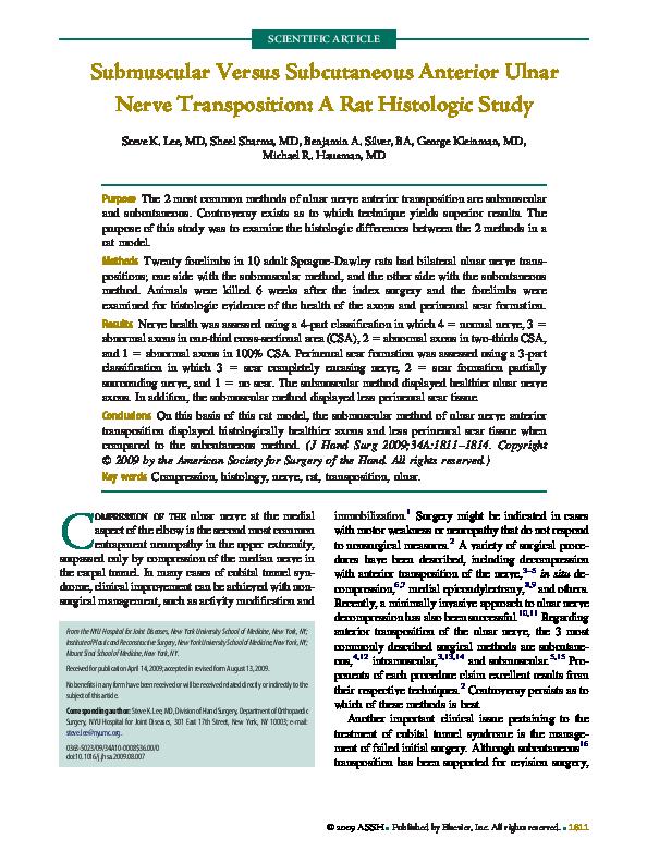 PDF) Submuscular Versus Subcutaneous Anterior Ulnar Nerve