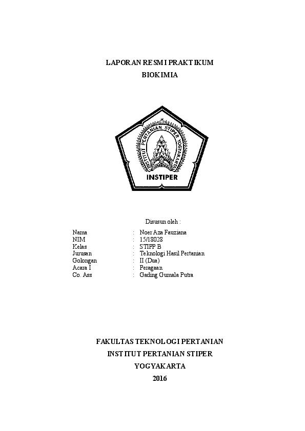 Doc Laporan Resmi Praktikum Biokimia Noer Aza Fauziana Academia Edu