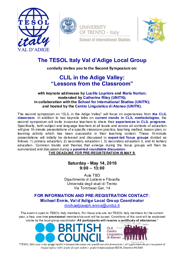 PDF) Second Symposium on CLIL in the Adige Valley: