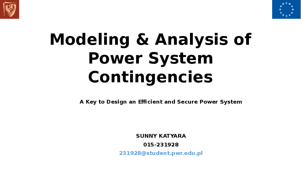 PPT) Modeling and Analysis of Contingency Analysis of Power