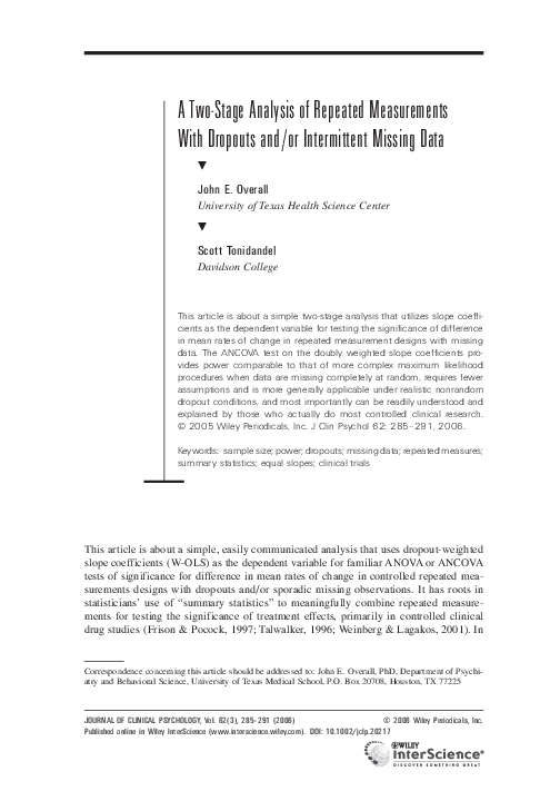PDF) A two-stage analysis of repeated measurements with