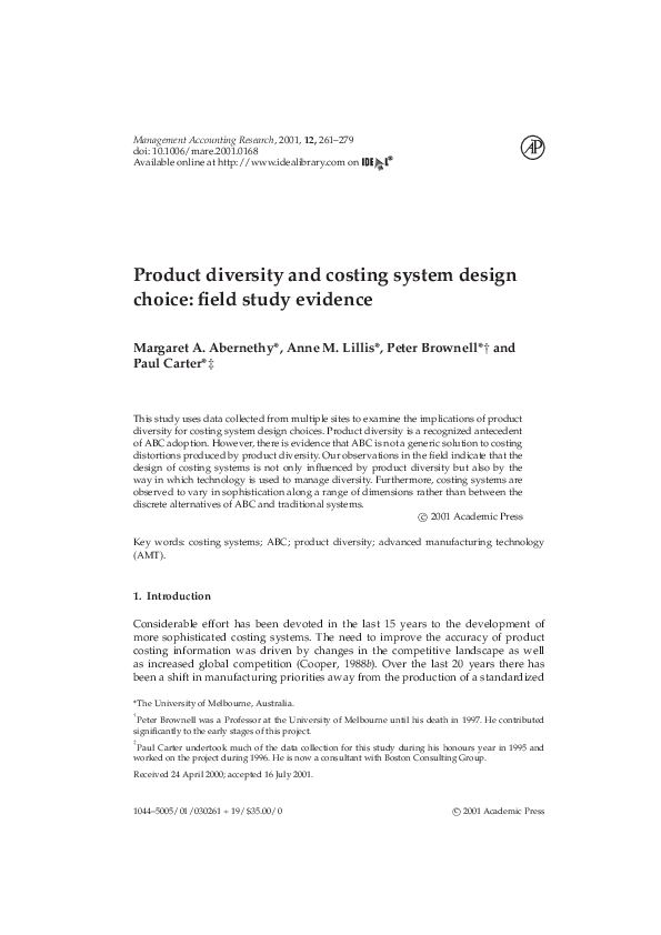 (PDF) Product diversity and costing system design choice