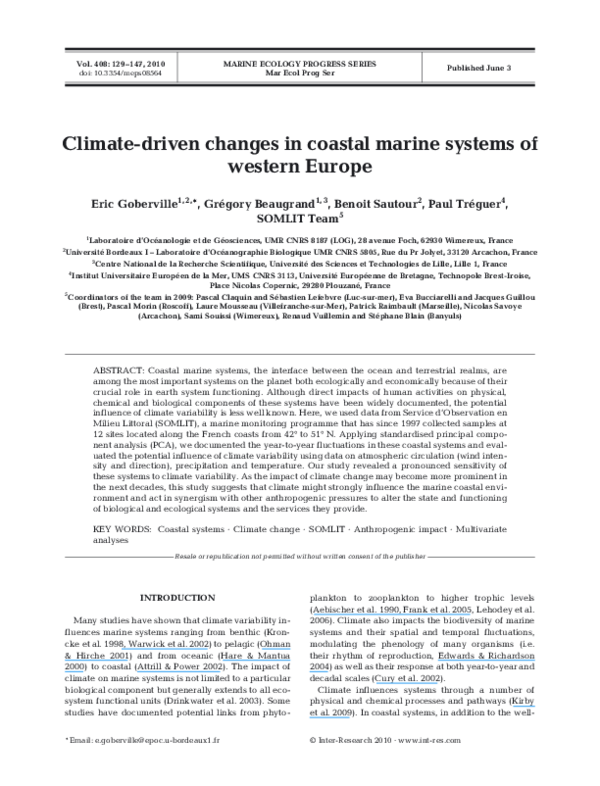 PDF) Climate-driven changes in coastal marine systems of
