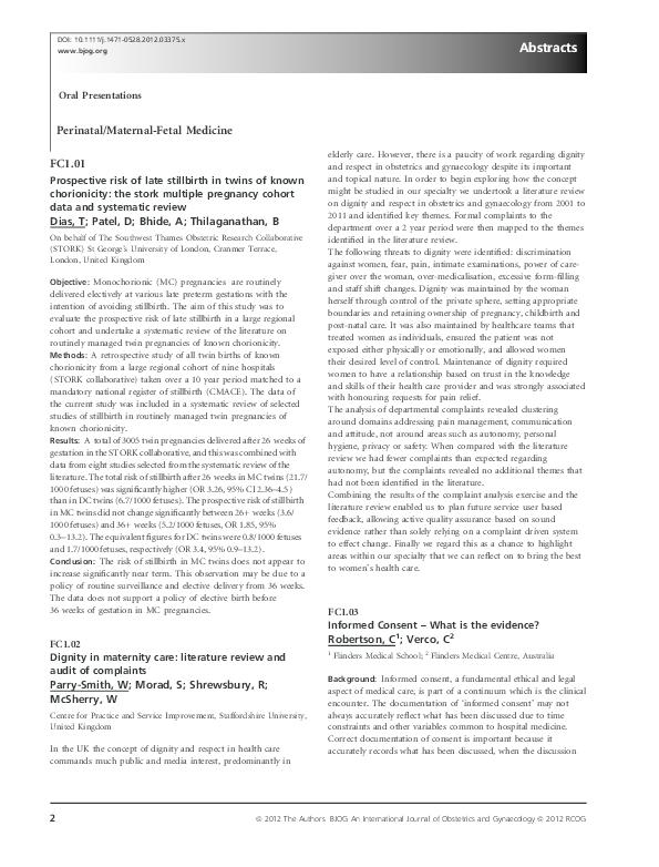 PDF) Metabolomic approach to diagnosis of labour   Pierluigi
