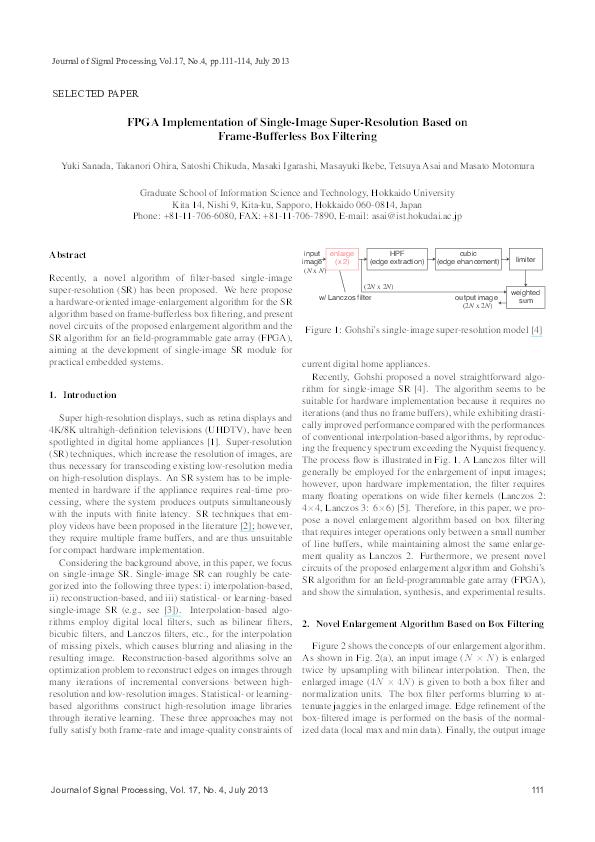 PDF) FPGA Implementation of Single-Image Super-Resolution