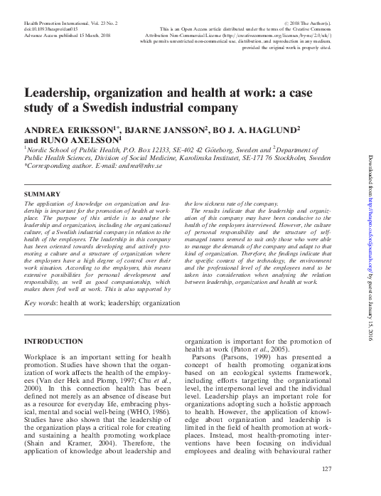 PDF) Leadership, organization and health at work: a case