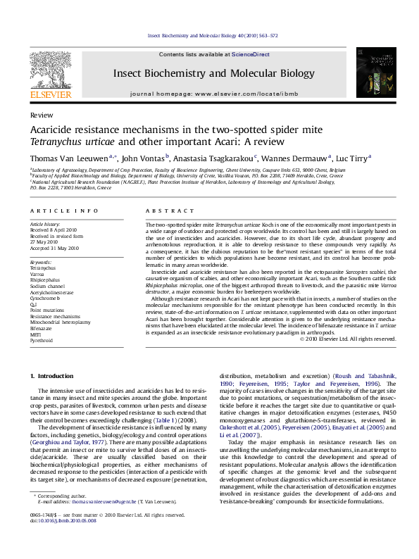 PDF) Acaricide resistance mechanisms in the two-spotted