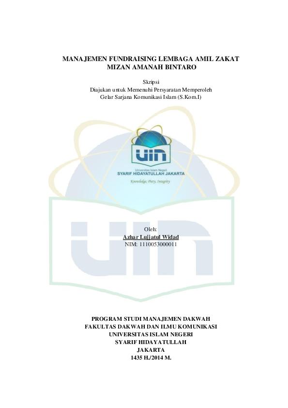 Pdf Manajemen Fundraising Lembaga Amil Zakat Mizan Amanah Bintaro