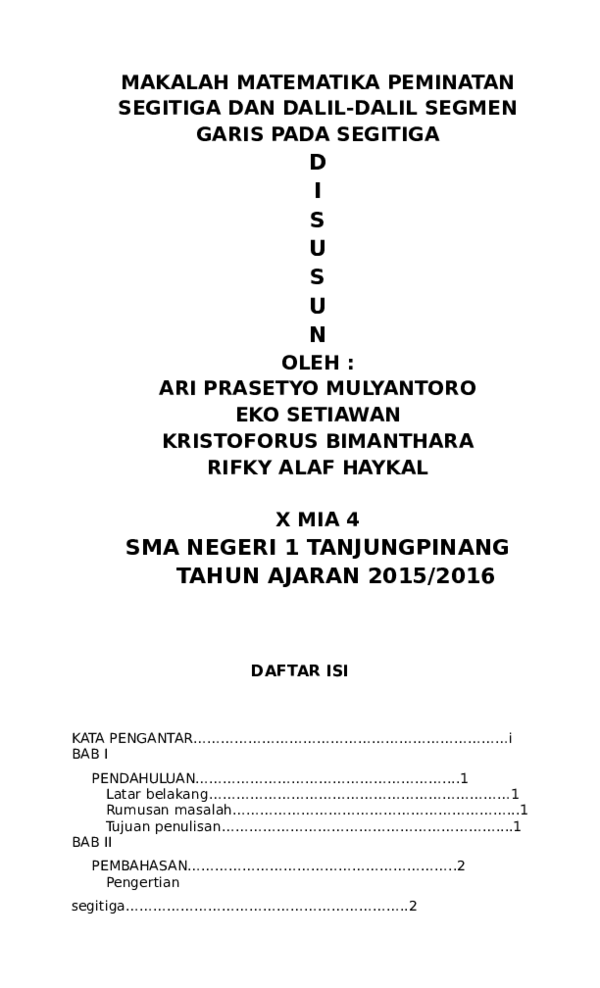 Doc Makalah Matematika Peminatan Segitiga Dan Dalil Dalil Segmen Garis Pada Segitiga D I S U S U N Oleh Ari Prasetyo Mulyantoro Eko Setiawan Kristoforus Bimanthara Rifky Alaf Haykal X Mia