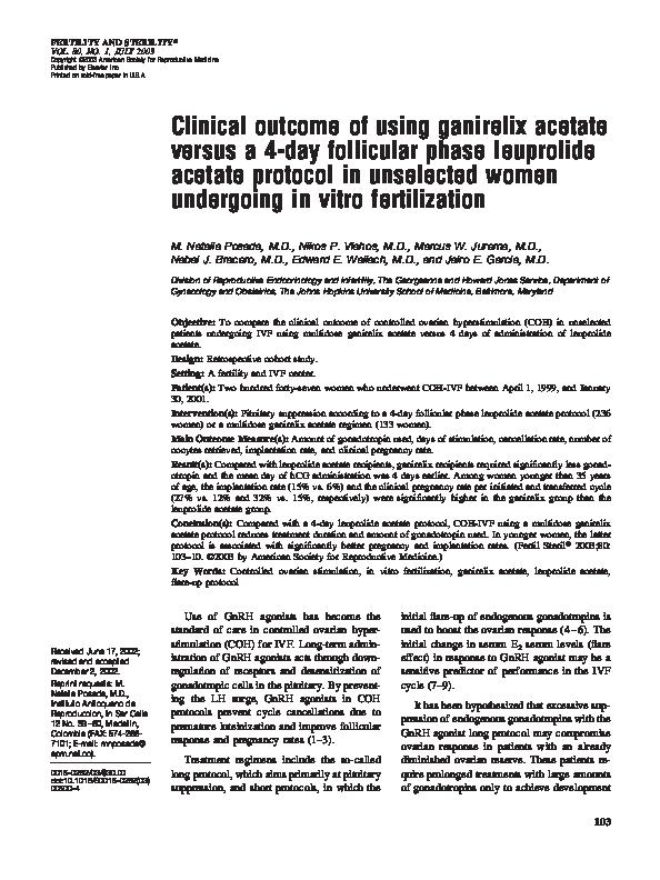 PDF) Clinical outcome of using ganirelix acetate versus a 4