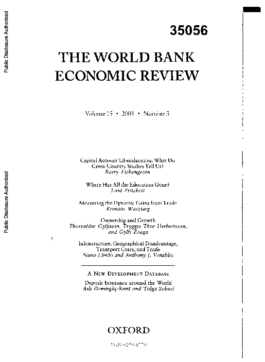 PDF) The World Bank economic review 15 (3) | Romain Wacziarg