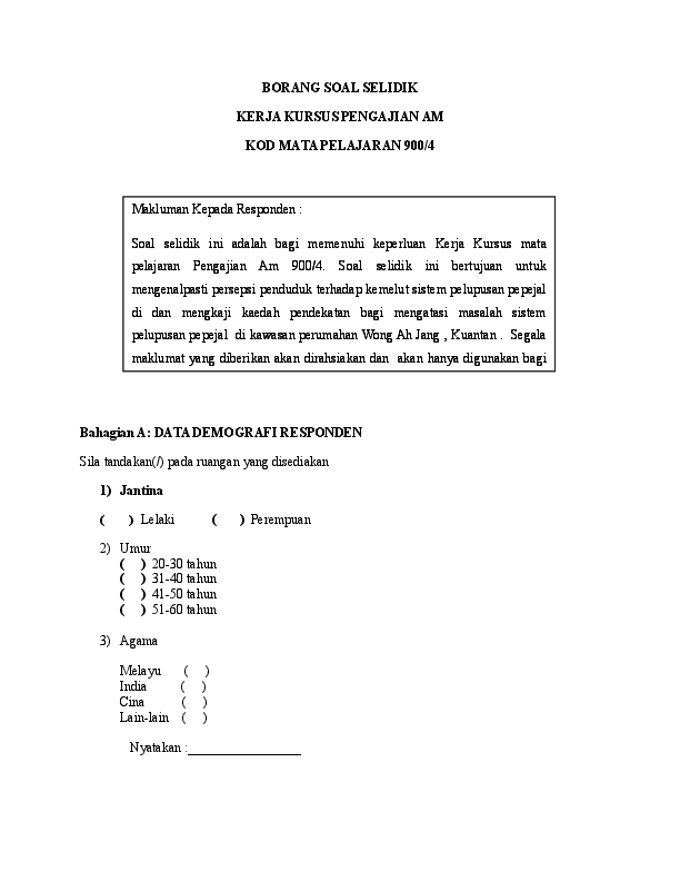 Doc Borang Soal Selidik Kerja Kursus Pengajian Am Kod Mata