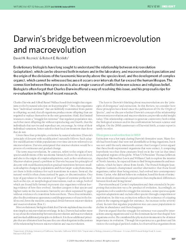 PDF) Darwin's bridge between microevolution and