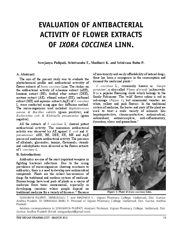 literature review of ixora coccinea