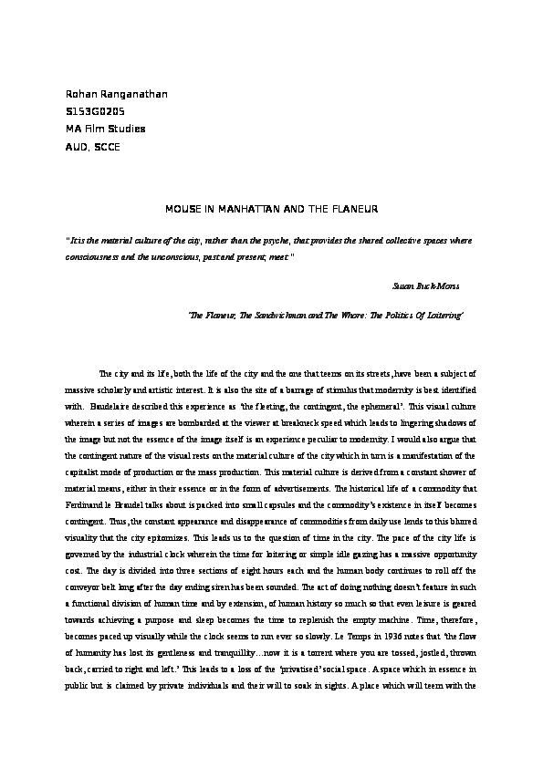 Doc Morss The Flaneur The Sandwichman And The Whore The Politics Of Loitering Tapanshu Kul Academia Edu
