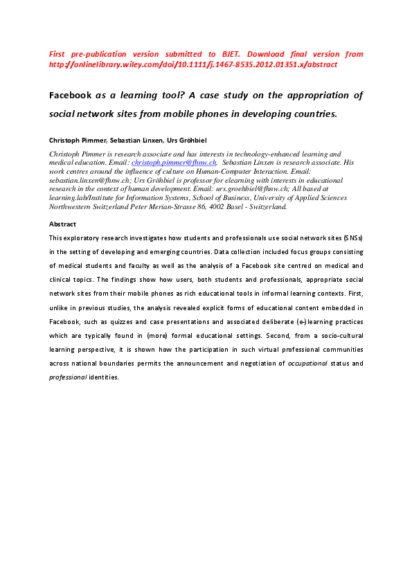 PDF) Facebook as a learning tool? A case study on the