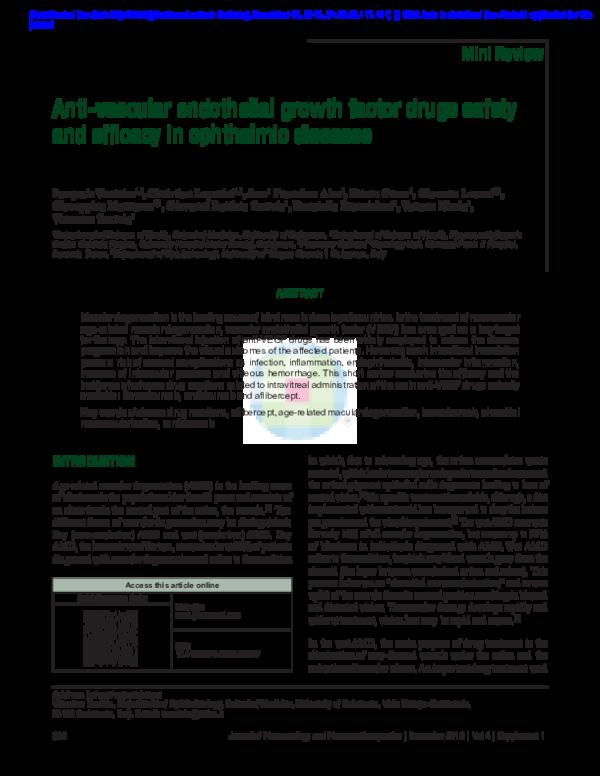 PDF) Anti-vascular endothelial growth factor drugs safety