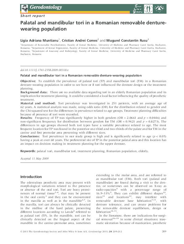 PDF) Palatal and mandibular tori in a Romanian removable