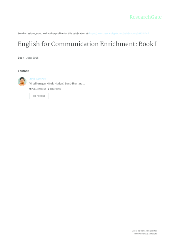 PDF) English for Communication Enrichment: Book I | Jeya Santhi V