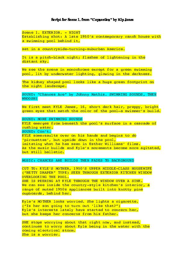 PDF) Five-minute Script for Swimming Pool Mélologue | Kip