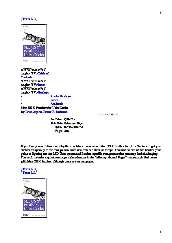 PDF) Mac OS X panther for Unix geeks | Ernest Rothman