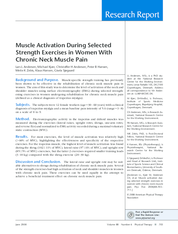PDF) Muscle Activation During Selected Strength Exercises in
