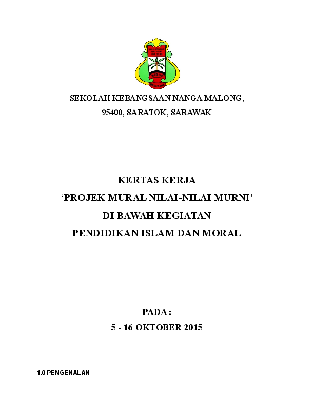 Doc Kertas Kerja Mural Nilai Nilai Murni Hasliza Che Ismail Academia Edu