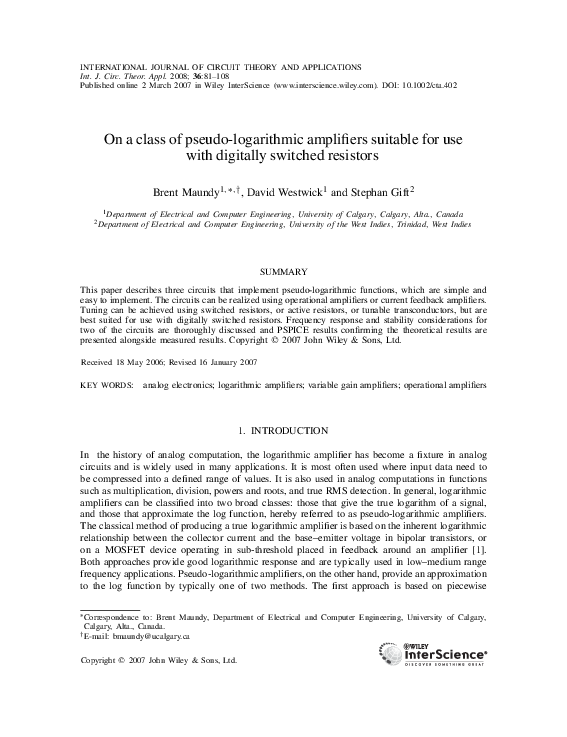 PDF) On a class of pseudo-logarithmic amplifiers suitable