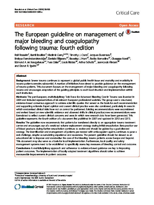 PDF) The European guideline on management of major bleeding
