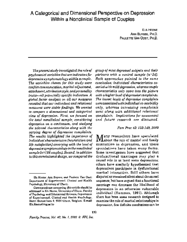 PDF) A Categorical and Dimensional Perspective on Depression