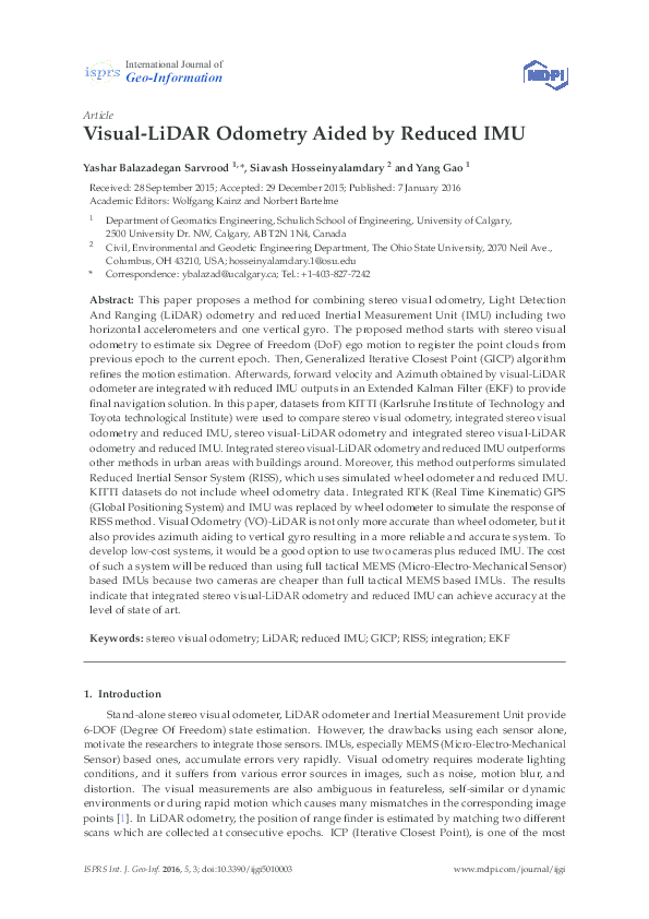 PDF) Visual-LiDAR Odometry Aided by Reduced IMU | Yashar Balazadegan