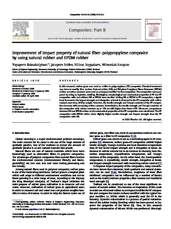 PDF) Improvement of impact property of natural fiber