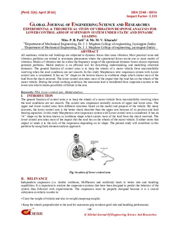 PDF) EXPERIMENTAL & THEORETICAL STUDY OF VIBRATION RESPONSE