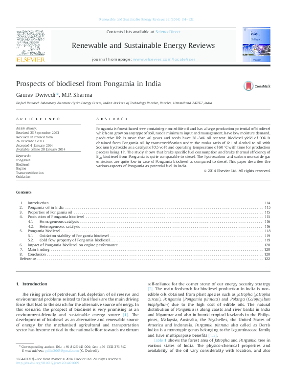 PDF) Prospects of biodiesel from Pongamia in India | Gaurav