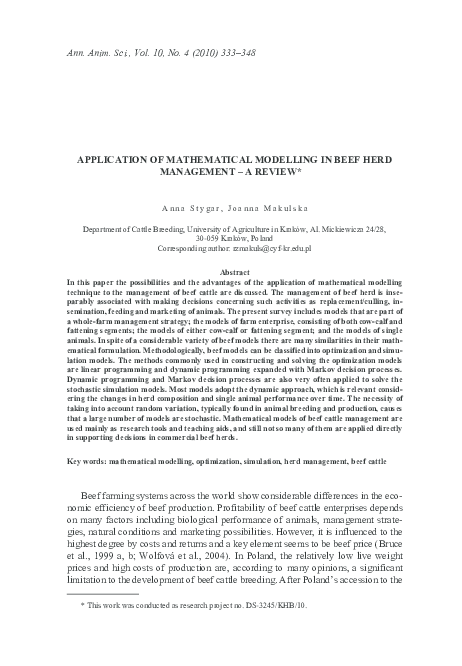 PDF) Application of mathematical modelling in beef herd