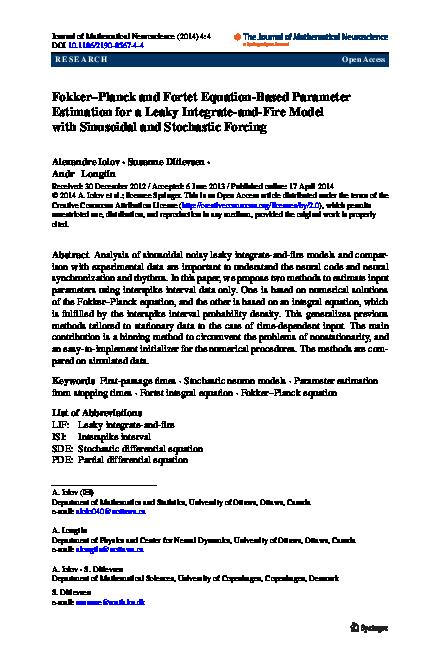 PDF) Fokker-Planck and Fortet Equation-Based Parameter
