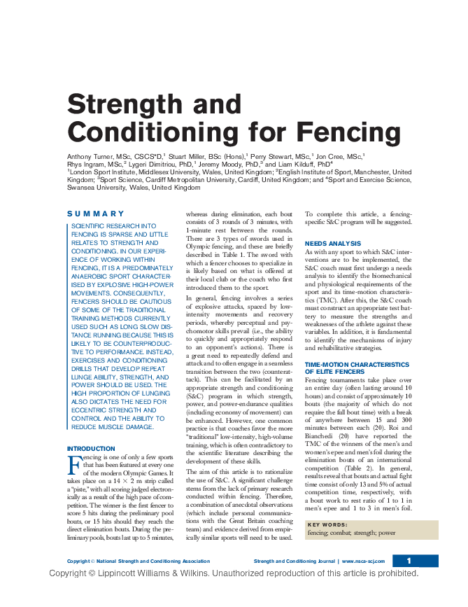 PDF) Strength and Conditioning for Fencing | Jeremy Moody and Rhys