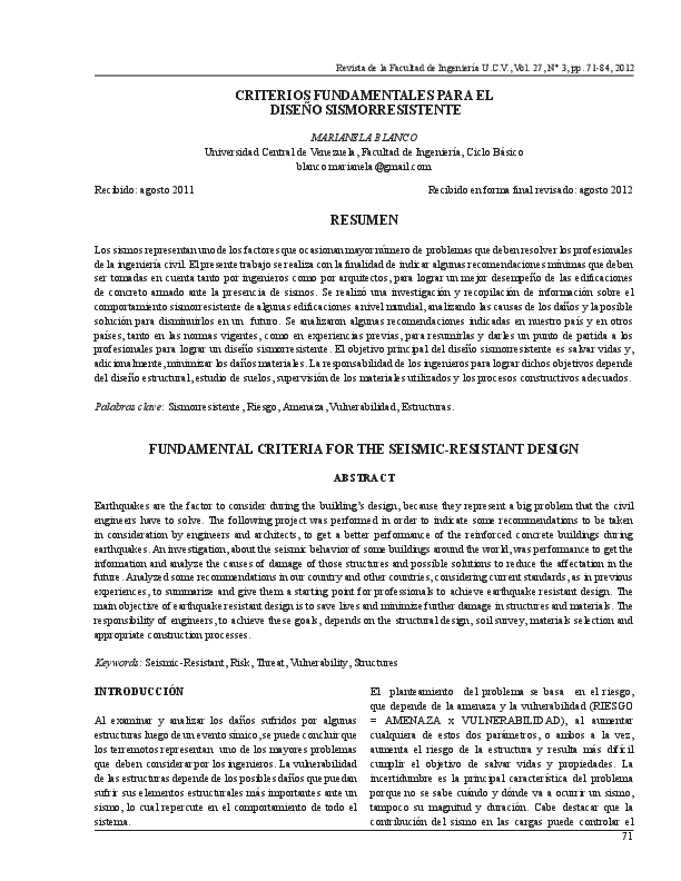 Pdf Criterios Fundamentales Para El Diseno Sismorresistente Fundamental Criteria For The Seismic Resistant Design Fernando Espinoza Academia Edu