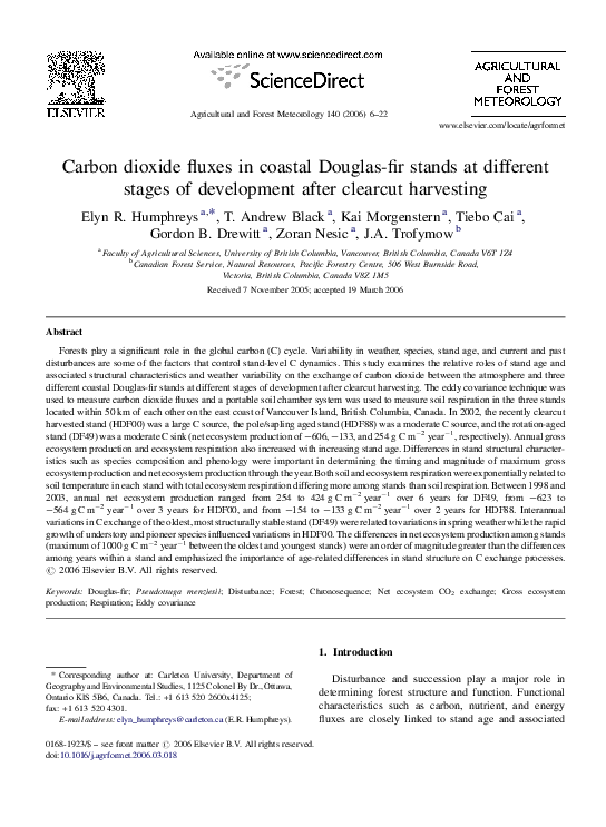 PDF) Carbon dioxide fluxes in coastal Douglas-fir stands at