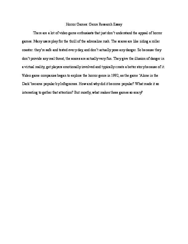 Doc Horror Games Genre Essay Hex L Kri Academia Edu