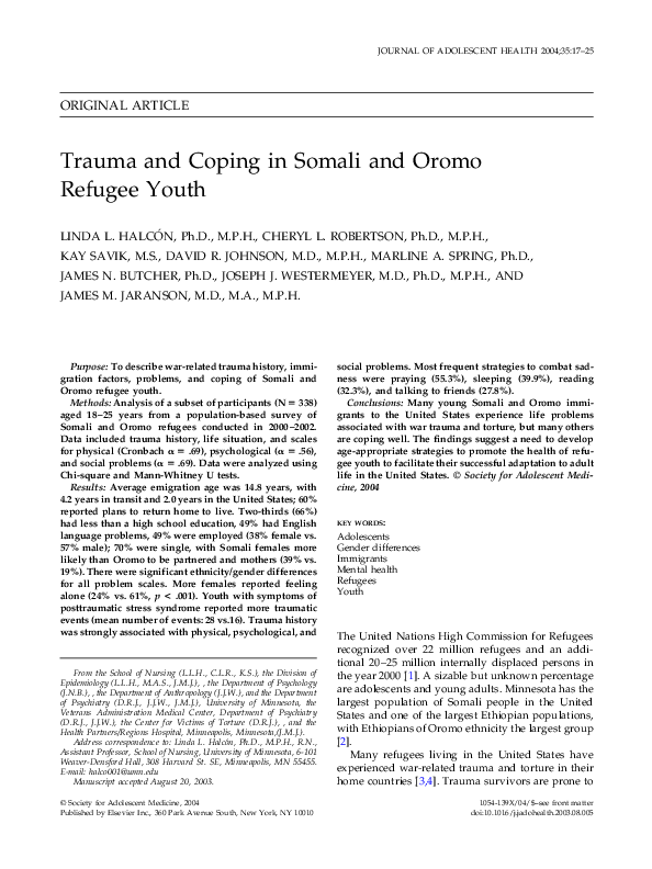 PDF) Trauma and coping in Somali and Oromo refugee youth