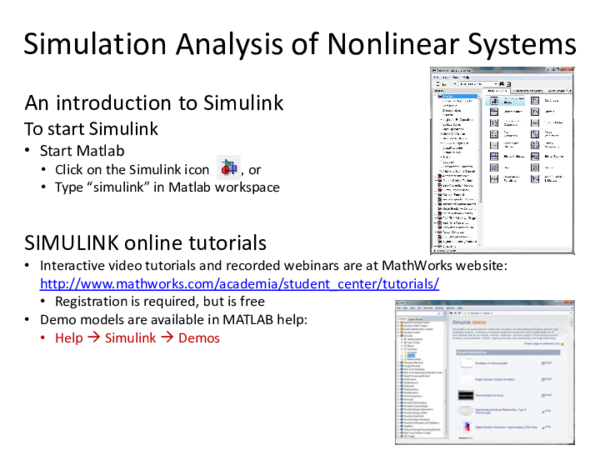 PDF) Simulation Analysis of Nonlinear Systems An introduction to