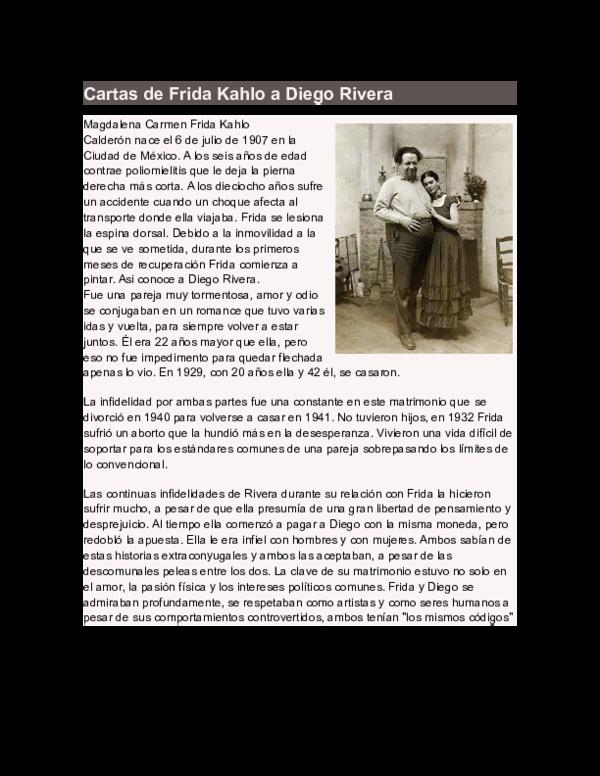 Doc Cartas De Frida Kahlo A Diego Rivera Angela Medina Valdez Academia Edu